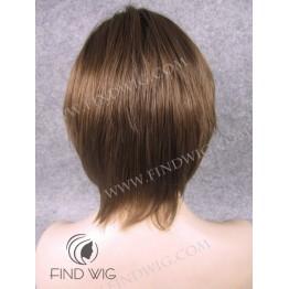 Skin Top Wig. Straight Chestnut Short Wig