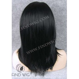 Lace Front Wig. Straight Black Medium-Long Wig