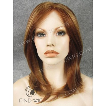 Lace Front Wig. Straight Red Ginger Highlighted Medium-Long Wig