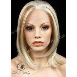 Straight Highlighted Blonde Medium Long Wig