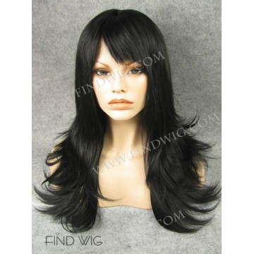 Kanekalon Wig. Straight Black Long Wig With Bang