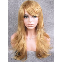 Kanekalon Wigs. Straight Blonde Straw Long Wig With Bang