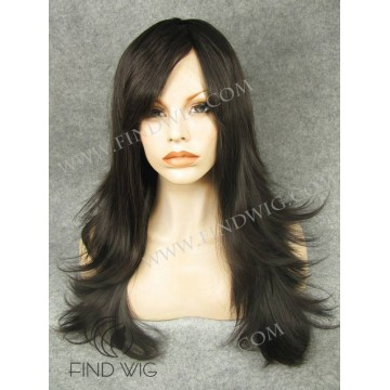 Lace Front Wig. Straight chestnut long wig with fringe