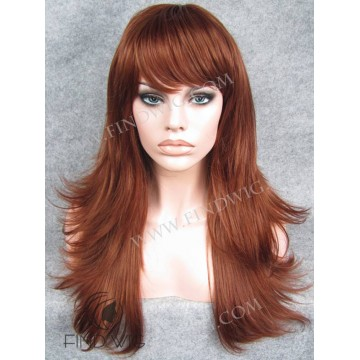 Kanekalon Wig. Straight Ginger Red Long Wig with Bang