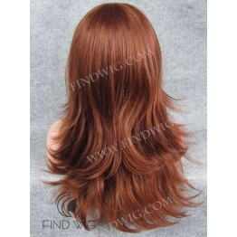 Kanekalon Wig. Straight Ginger Red Long Wig with Bang