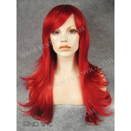 Lace Wigs For Drag Show. Straight Bright Red Long Wig