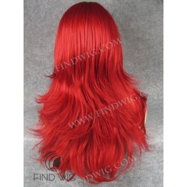 Drag Wig. Straight Bright Red Long Wig With a Bang