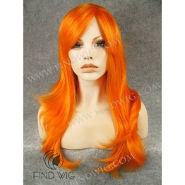 Halloween Wigs. Straight Orange Long Wig With Bang
