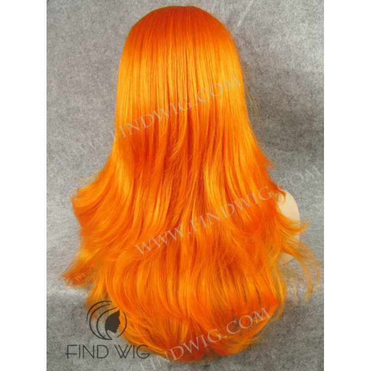 Straight Orange Long Wig With Bang Halloween Wig Online Wigs