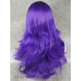 Halloween Wigs. Straight Blue Long Wig With Bang