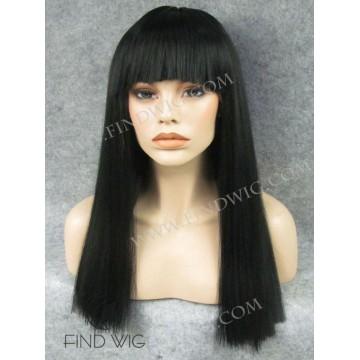 Kanekalon Wig. Straight Black Medium Long Wig With Bang