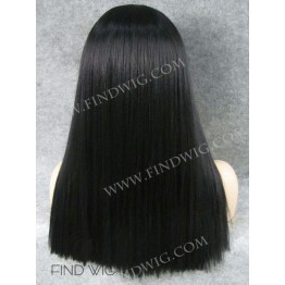 Kanekalon Wig. Straight Black Medium Long Wig With Bang