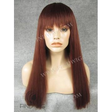 Kanekalon Wigs. Straight Red Ginger Long Wig With Bang