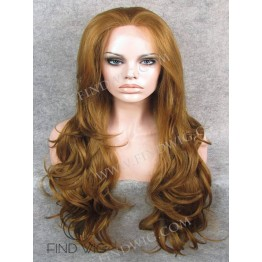 Lace Front Wig. Wavy Ginger Long Wig