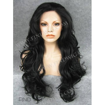 Kanekalon Lace Front Wig. Wavy Black Long Wig