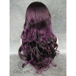 Lace Front Wig for Show. Wavy Lilac Long Wig