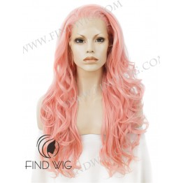 Wavy Light Pink Long Wig. Lace Front Costume Wig