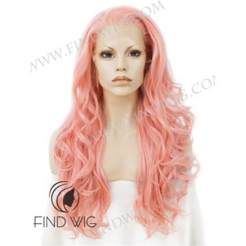 Costume Drag Wig. Wavy Light Pink Long Wig