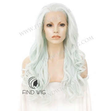 Costume Drag Wig. Wavy Light Mint Blond Long Wig