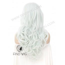 Costume Drag Wig. Wavy Light Mint Blonde Long Wig