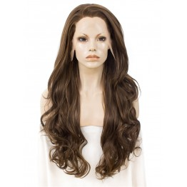 Lace Front Wig. Wavy Long Chestnut Wig
