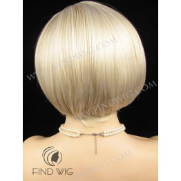 Lace Front & Skin Top Wig. Straight Blonde Highlighted Short Wig