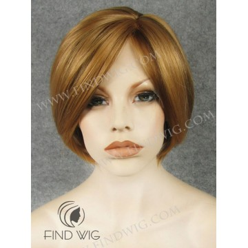 Skin Top & Lace Front Wig. Straight Ginger / Red Short Wig