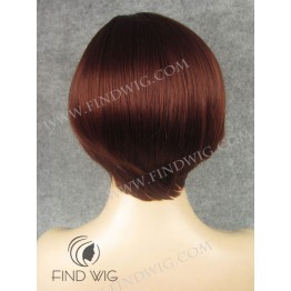 Straight Red / Ginger Short Skin Top Wig