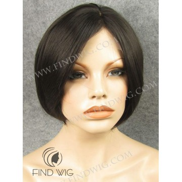 Lace Front Wig. Straight Chestnut Short Wig
