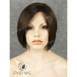 Skin Top Wig. Straight Chestnut Short Lace Front Wig
