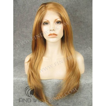 Skin Top Wig. Straight Gold Blonde Long Lace Front Wig