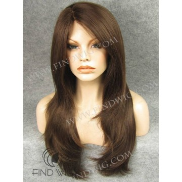 Lace Front Wig. Straight Chestnut Long Skin Top Wig