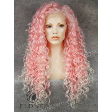 Wig For Show And Performance. Curly Pink Long Lace Front Wig