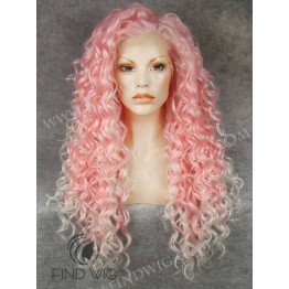 Drag Queen Wig. Curly Pink Long Wig. Halloween Wigs