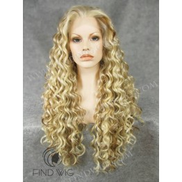 Kanekalon Wig. Curly Blonde Straw Long Wig