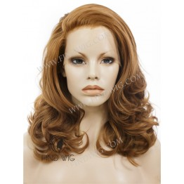Lace Front Wig. Wavy Ginger Medium Long Wig