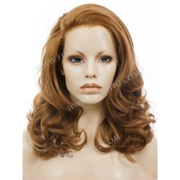 Lace Front Wig. Ginger Blonde Medium Long Wig
