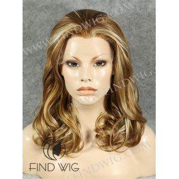 Wavy Dark Blonde Highlighted Medium Long Wig