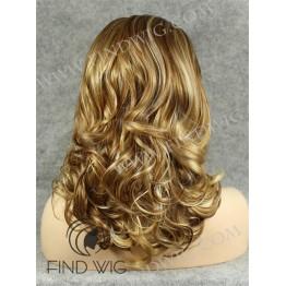 Wavy Dark Blonde Highlighted Medium Long Wig