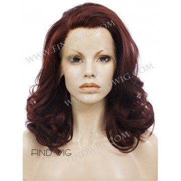 Wavy Ginger Red Medium-Long Lace Front Wig With Widows Peak
