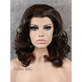 Wavy Dark Chestnut Highlighted Medium Long Wig With Widows Peak