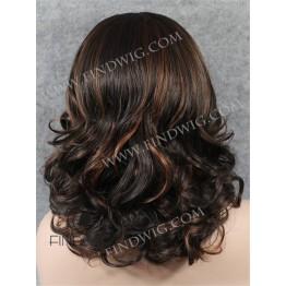 Wavy Dark Chestnut Highlighted Medium Long Wig With Widows Peak