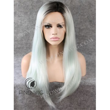 Lace Front Wig. Straight Ash Blonde Long Wig With Dark Roots