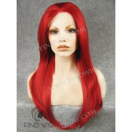 Wig for Show and Theater. Straight Bright Red Long Wig
