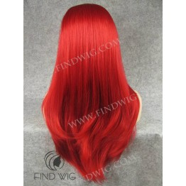 Drag Wig. Straight Bright Red Long Wig
