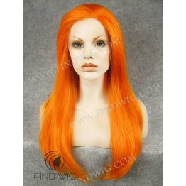 Drag Queen Lace Wig. Straight Orange Long Wig