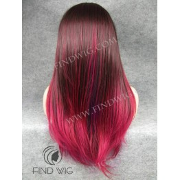Lace Front Wig For Show. Straight Burgundy Long Wig