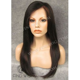 Lace Front Wig. Straight Chestnut Highlighted Long Wig