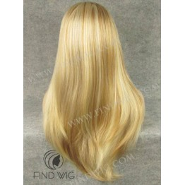 Lace Front Wig. Straight Straw Blonde Highlighted Long Wig