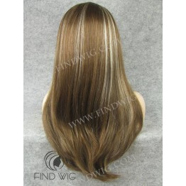 Kanekalon Wig. Straight Long Chestnut Highlighted Lace Front Wig